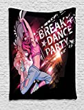 Ambesonne Youth Tapestry, Break Dance Party Poster Design with a Teen Girl Jumping Disco Nightclub Lifestyle, Wall Hanging for Bedroom Living Room Dorm, 60 W X 80 L inches, Multicolor