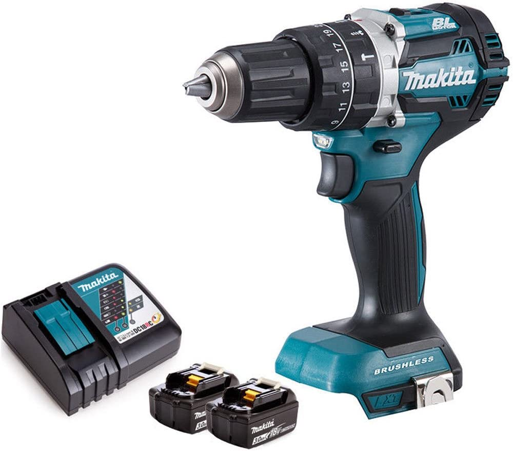 Makita DHP484Z 18V LXT Li-ion Brushless Combi Drill Body with 2 x 3Ah Batteries /& Charger