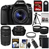 Canon EOS 80D Wi-Fi Digital SLR Camera & EF-S 18-55mm IS STM with 75-300mm III Lens + 64GB + Battery & Charger + Case + Tripod + Tele/Wide Lens Kit