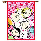 Snoopy and the Peanuts Gang ~ BE MY VALENTINE ! ~ House Flag (28″W X 40″L) For Sale