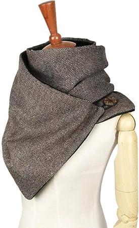 LASISZ Diseñador Moda Invierno cálido Hombres botón Bufanda Lana algodón Unisex Espiga Chevron Anillo Bufanda Mujer Infinito Bufanda, marrón: Amazon.es: Hogar