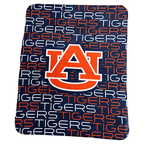 Logo Brands NCAA Auburn Tigers Classic Fleece Throw, One Size, Navy