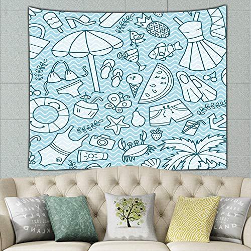jtykftuf sea Summer Doodle Cartoon Anchors Hippie Tapestry Wall Art for Living Room Bedroom Dorm Decor 50ʺ × 60ʺ
