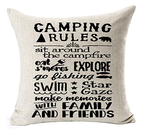 Camping Rules Throw Pillow Cover made our CampingForFoodies hand-selected list of 100+ Camping Stocking Stuffers For RV And Tent Campers!