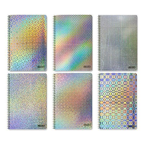 4 Pk, Holographic Spiral Notebook 70 Ct. 1-Subject (Colors will vary)