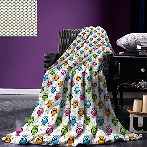 smallbeefly Owls Custom printed Throw Blanket Lively Colored Fun Kids Cartoon Happy Mascots Colorful Pattern with Circles and Dots Velvet Plush Throw Blanket Multicolor