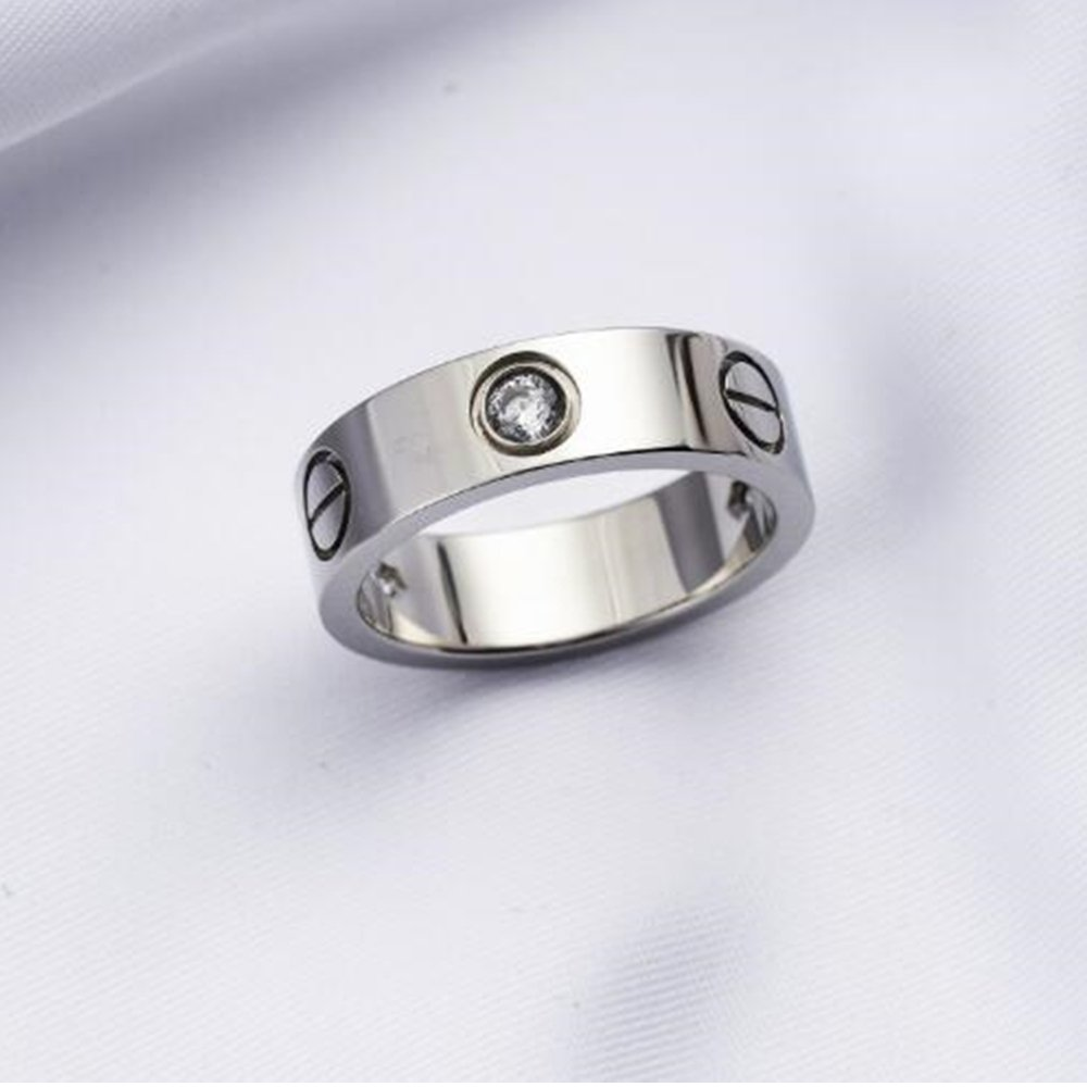 Frederic Wilkins Love Zirconia Ring - Titanium Steel Unisex Adult Fashion Lovers Silvery Ring(Size:5-10) (Silver, 7) by Frederic Wilkins (Image #3)