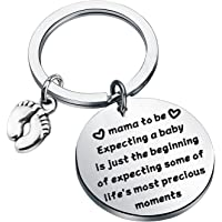 PENQI Mama To Be New Mom Jewelry Expecting a Baby Keychain With Baby Feet Pregnancy Announcement Gift First Mom
