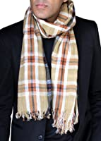 Anika Dali Men's Classic Check Plaid Scarf in Rugged Natural Cotton (Tan/Rust)