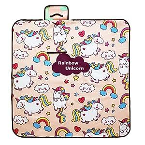 Rainbow Unicorn - Mantas Impermeables para Picnic al Aire Libre, Camping, Playa, césped, Pink,150x150cm