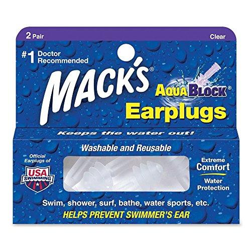 Mack's AquaBlock Earplugs, 2 Pair, Comfortable, Waterproof, Ear Plugs for Swimming, Snorkeling and...