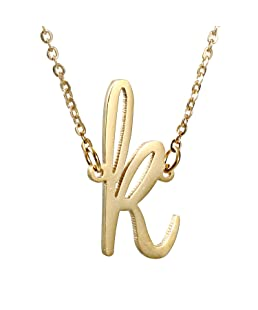 AOLO Initial Necklace K Letters Alphabet Jewelry 14k Gold