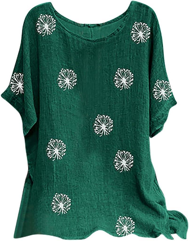 T-Shirt FNKDOR Femme Manche Courte Chemisier Casual Et/é Tops Col V Hauts Blouse Chic Tee Shirt Chemise Grande Taille D/écontract/ée Blouse Casual Top Tee-Shirt,S-5XL