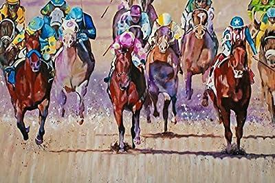 2015 KENTUCKY DERBY - Fine Art Giclee Print 12 x 18 Inch from Original Acrylic Horse Racing Painting of Triple Crown Winner American Pharoah