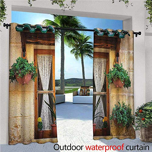 Shutters Outdoor- Free Standing Outdoor Privacy Curtain Basket of Flowers Historic Building Window with Classic Lace Curtain Inside Image for Front Porch Covered Patio Gazebo Dock Beach Home W120