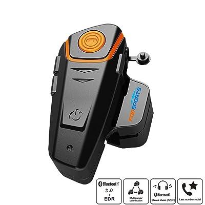 1000 m Moto walkie-Talkie, Casque oreillette Bluetooth, Super imperméable à l'eau 10 Heures Talk Temps de Conversation FM, MP3, GPS Sports et Loisirs
