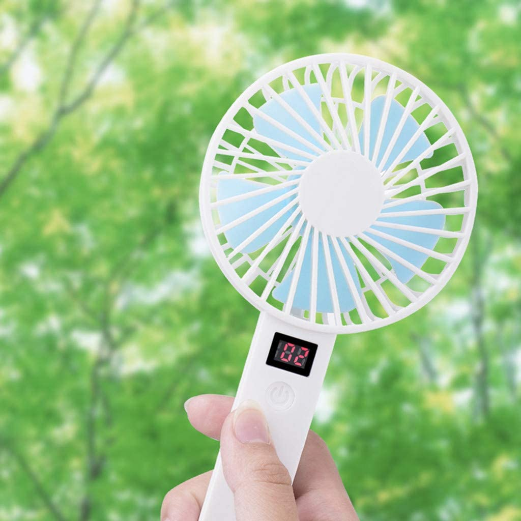 Holzkary Portable Mini Fan with Display Screen USB Rechargeable Hand-held Cooling Fan White//Blue//Pink//Black 10.8X5.1X21CM.White