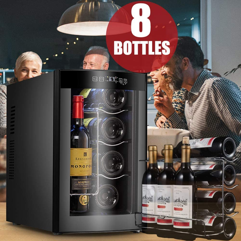 Vanell 8 Bottles Wine Cooler Thermoelectric Small Refrigerator Red White Champagne Touch Wine Fridge Chiller Counter Top Wine Cellar Touch Temperature Control Thermoelectric 8 Bottles