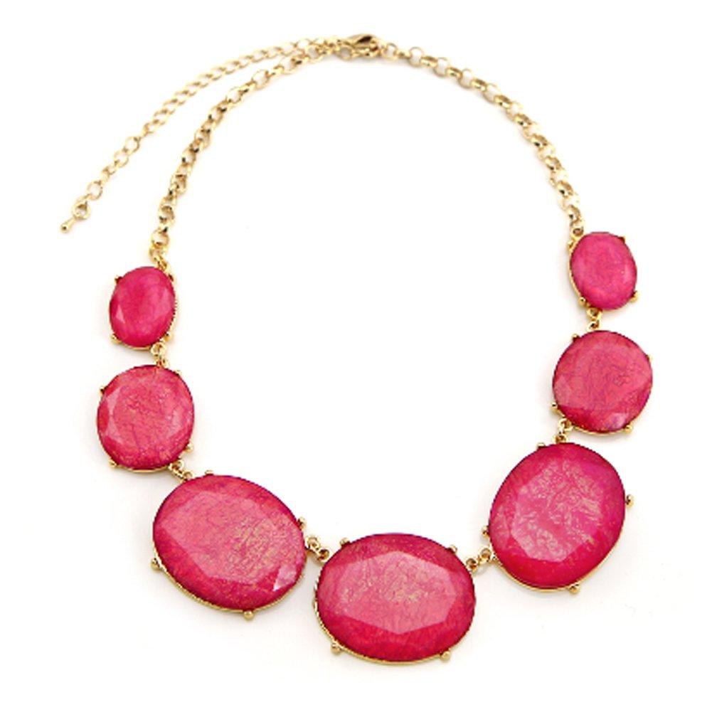 TrinketSea Statement Necklace for Girls Geometric Cut Bubble Bib Gemstone Imitated Charm (Rose Pink)