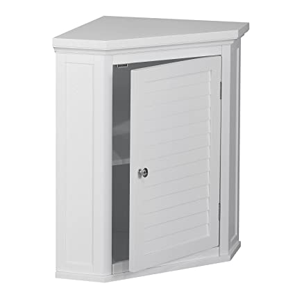 White Shutter Door Corner Wall Storage Medicine Cabinet With Adjustable  Shelves For Bathroom Or Kitchen SALE