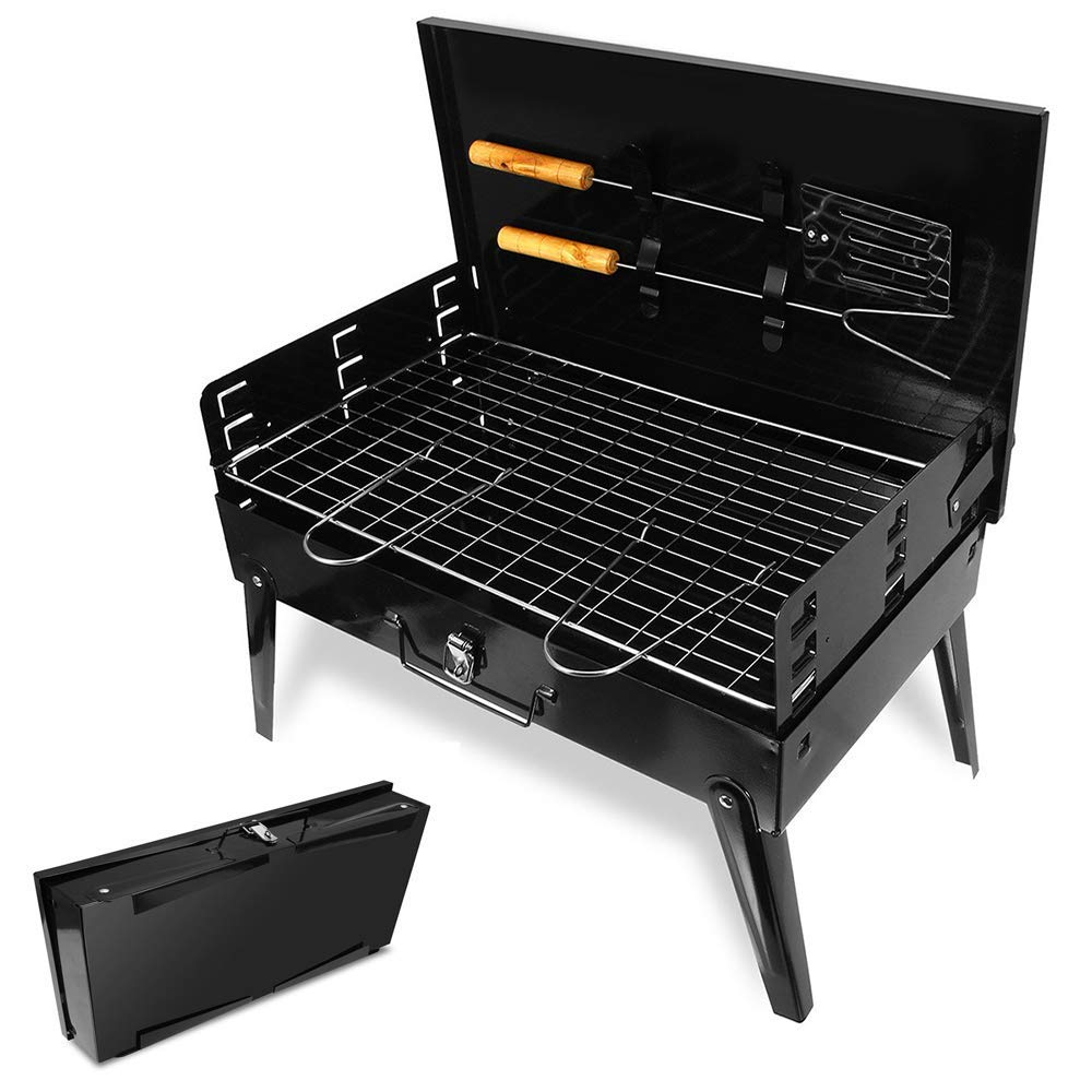 RUAMOZ BBQ Grill Portable Folding Charcoal with A Shovel and Fork for Camping, Tailgating, Backpacking, Hiking, Picnic by RUAMOZ