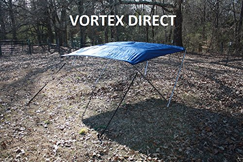 NEW NAVY BLUE STAINLESS STEEL FRAME VORTEX 4 BOW PONTOON/DECK BOAT BIMINI TOP 8' LONG, 97-103
