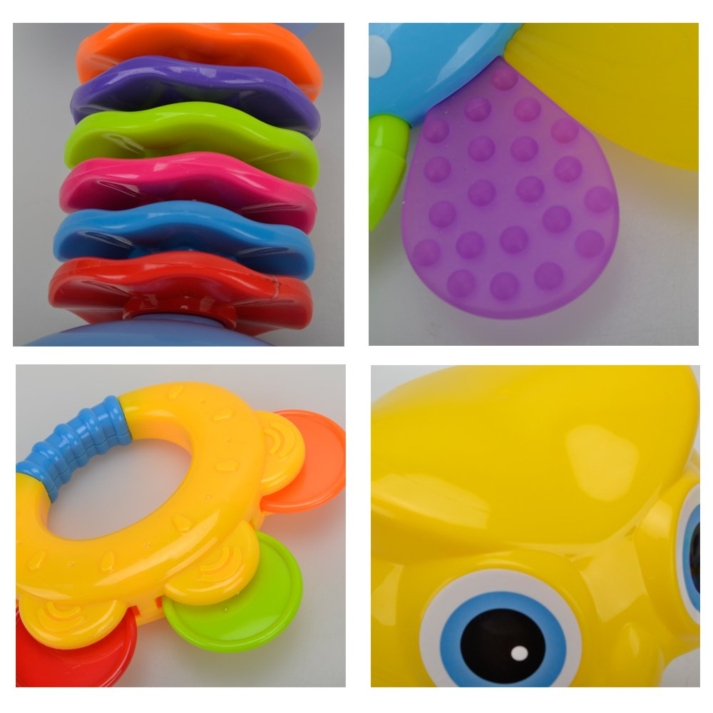 Teether Rattle Set Baby Toy - Happytime SLE84822 (2018 New Design)8pcs Latest Rattle & Teether Toys with Adorable Color in Owl Bottle Gift for Newborn Baby by Happy-Time (Image #6)