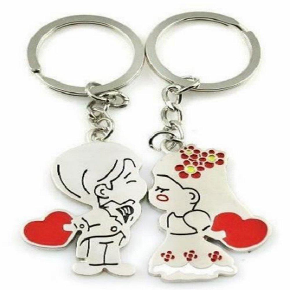 Kanggest 1 paire porte clef en Alliage pour 2 Pendentif garçon baiser fille Porte Clef pour amoureux Porte Cle pour Voiture/Téléphone/Mariage/Pochette/Sac