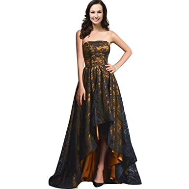 Kivary Strapless Black Lace High Low Long A Line Corset Prom Evening