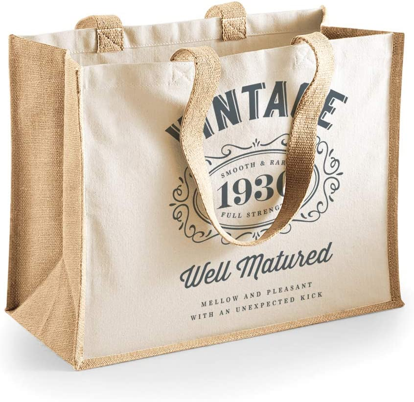 Divertente borsa shopper regalo donna 33x42x19cm per 90/° compleanno tela di cotone Neutro