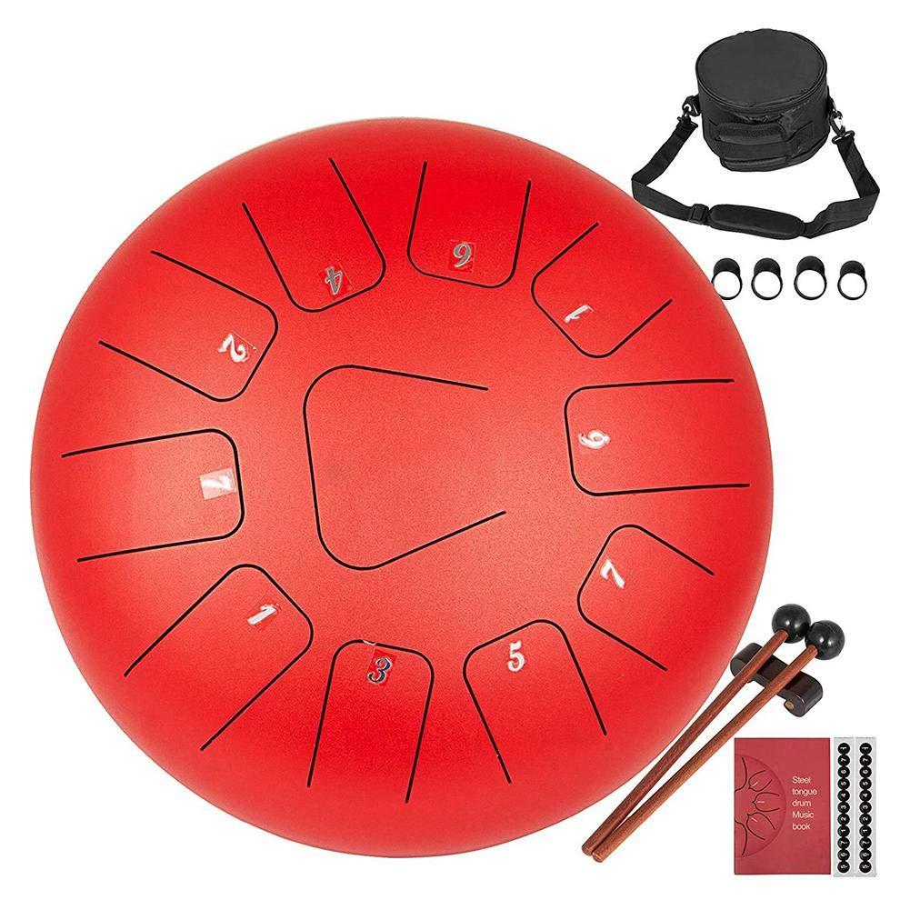 Tono C 11 Note 12 Pollici Tamburo a Mano AiLa Tamburo in Acciaio Rosso Strumento a Percussione Tankdrum con Bacchette/&Borsa per la Meditazione Yoga Guarigione Sana