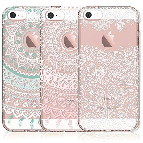 iPhone 5S / SE Case, CarterLily [3-Pack] Ultra Thin Colorful Mandala Henna White Flower Cute Art Pattern TPU Rubber Flexible Slim Skin Soft Scratch Resistant Case for iPhone 5 / 5s / SE - Henna Phone Cases Iphone 5s