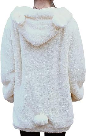 Winter Women's Loose Hoodie Hooded Jacket Bear Rabbit Ears Outerwear Fur Coat