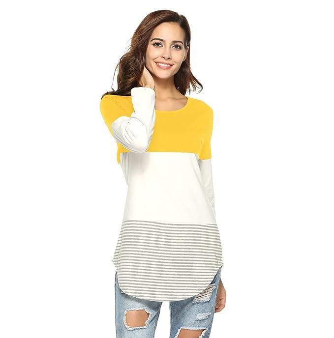 WanYang Blusas Para Mujer Cuello Redondo Camisetas Largas Tops Rayas Gruesas Manga Larga Suelta Camiseta Casual: Amazon.es: Ropa y accesorios