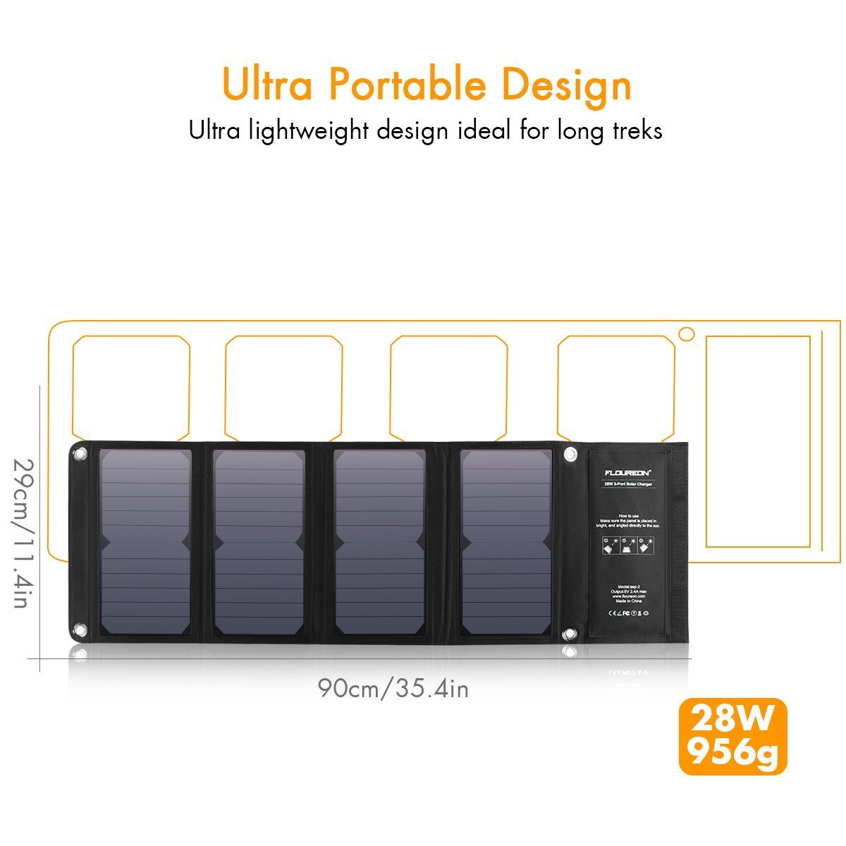FLOUREON 28W Solar Panel SunPower Camping Solar Charger Foldable Waterproof Solar Panel with Triple USB Ports/7.2A Output Charging for iPhone 8/8 Plus/X/ 7/ 6s, Samsung Galaxy S8/ S7/ S6 and More