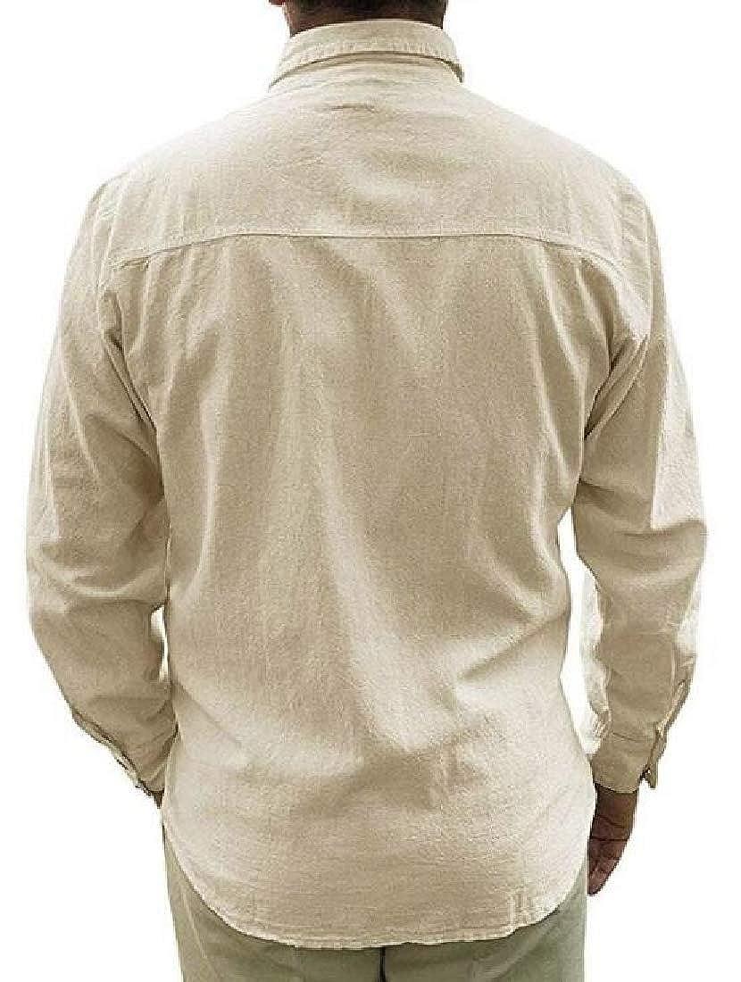 SELX Men Button Down Chest Pocket Long Sleeve Plain Linen Stylish Shirts