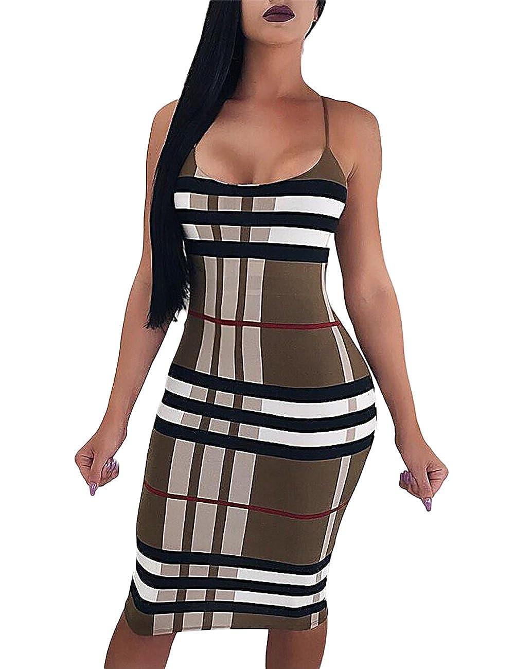 16c4a020581 Ivrose Women Spaghetti Strap Plaid Print Midi Dress at Amazon Women s  Clothing store
