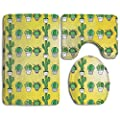 Cactus Non-Slip Bathroom Bath Mat Rug Set, 3 Piece Bath Set Pedestal Rug + Lid Toilet Cover + Bath Mat Decoration 3 Sets Perfect For Bath, Tub, And Shower