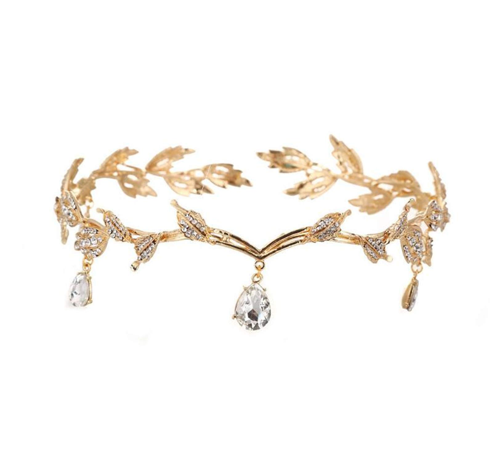 Wiipu Elegant Rhinestone Leaf Wedding Headpiece Headband Bridal Tiara Crown(B630) (Gold)