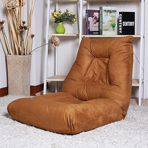 LZ LEISURE ZONE Adjustable 5-Position Folding Floor Chair Lazy Sofa Cushion Gaming Chair (Coffee)