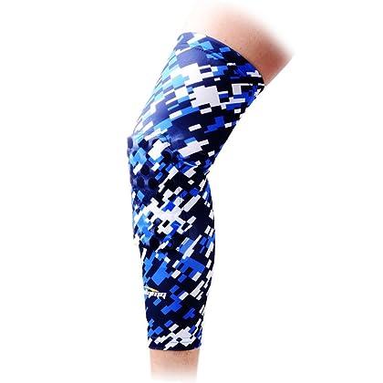 287fcc280d8ee6 COOLOMG 1 Piece Basketball Knee Pads For Kids Youth Adult Long Leg Knee  Sleeves EVA Protector Gear Digital Camo Blue Navy Medium