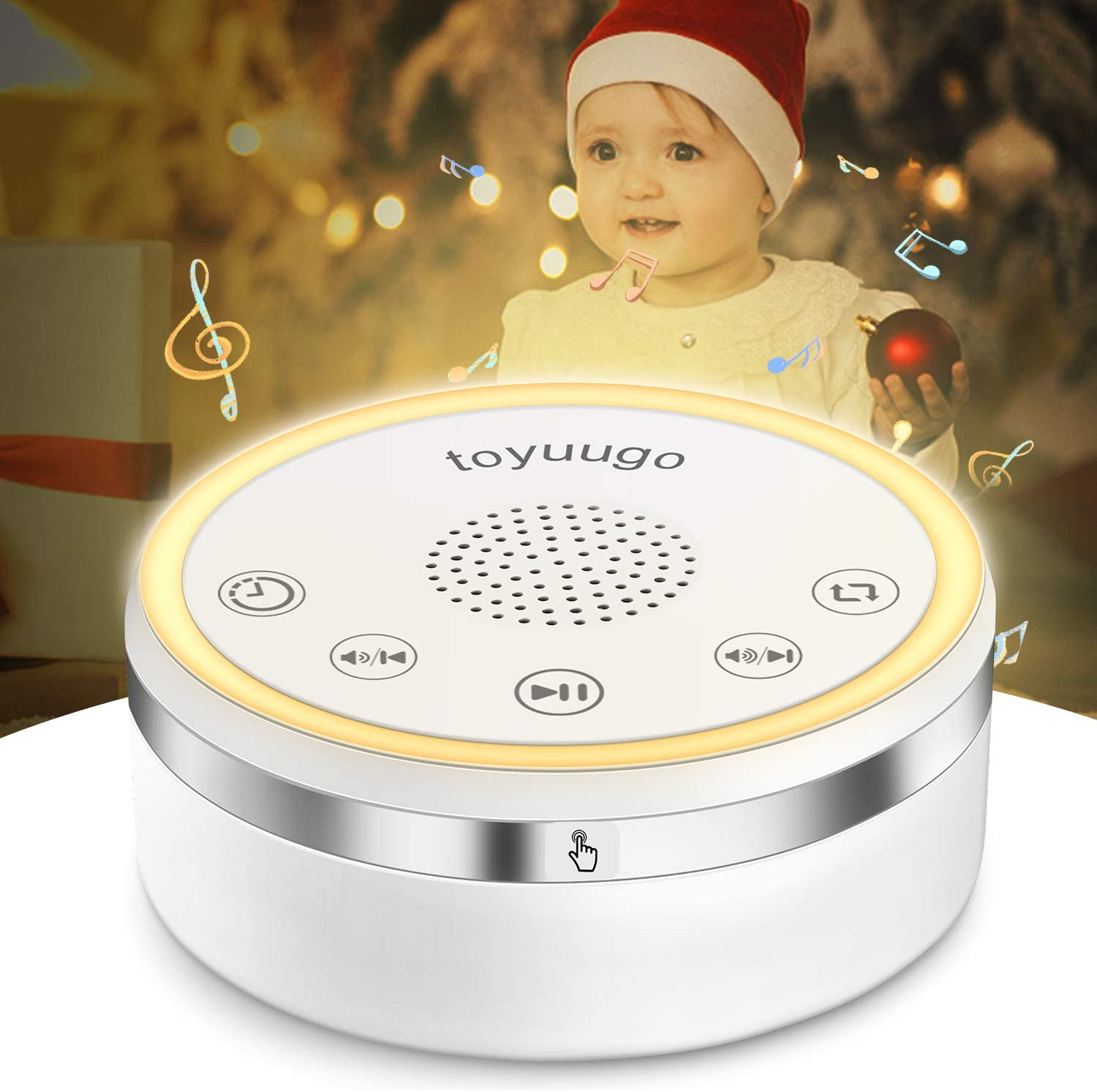 White Noise Machine,toyuugo Glows Sound Machine,attery or Adapter Charging Options Relaxation - Sleep Machine, Soothing Sounds & Auto-Off Timer Timer Sleep Therapy for Nursery, Home,Office,Travel