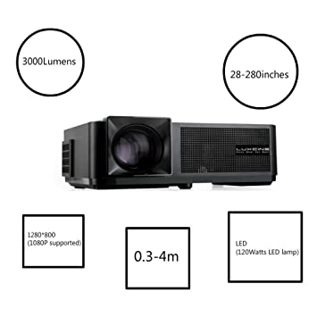 3000 Lumens1280 * 800 Nativo resolución LED proyector con Pantalla ...