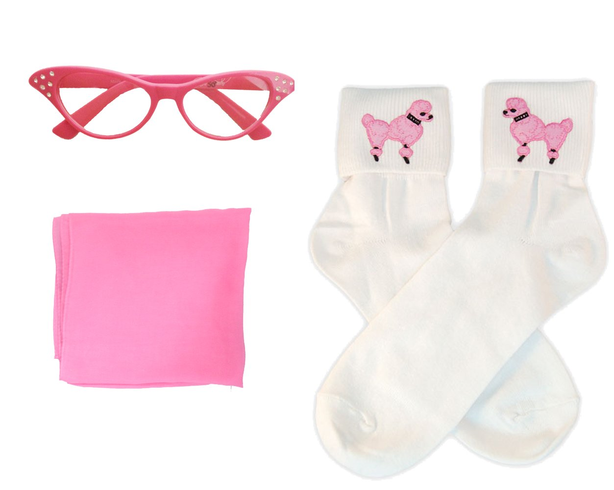 50s Costume Accessory Set Chiffon Scarf, Cat Eye Glasses and Bobby Socks for Women, Hot Pink