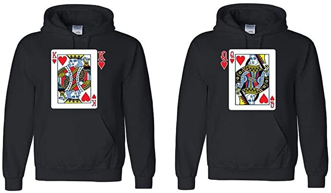 Amazon.com: Par Hoodie – King & Queen Juego de cartas – Su a ...