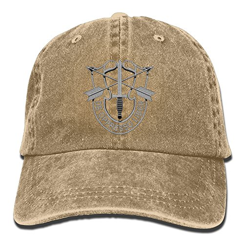 (Andwoor US Special Forces Insignia Cotton Adjustable Washed Twill Baseball Cap Hat)