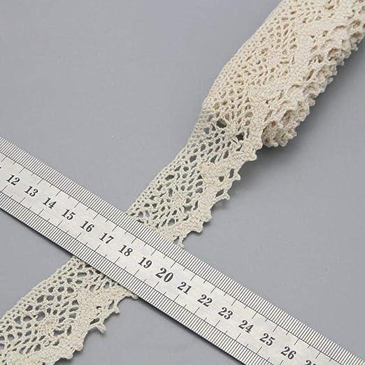 Cinta de encaje de ganchillo de algodón con ribete de color marfil de 2y/6y, material de tela de costura, accesorios hechos a mano N0105 Type 17 30mm 2y: Amazon.es: Hogar