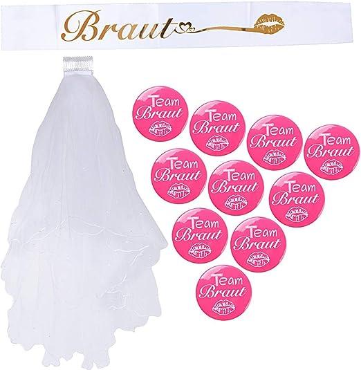 Hochzeit Pink Weiß Team Braut JGA Trinkbecher Partybecher Set 10 Stk Braut