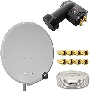Sistema de antena parabólica digital HD de PremiumX, antena de acero de 80 cm, color a elegir, Quad LNB, cable coaxial para 4 abonados de 50 m, 130 ...