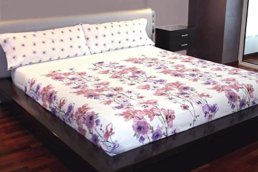 Juego de sábanas Flores Algodón 100% (BLUMMEN, para cama de 135x190/200): Amazon.es: Hogar
